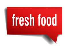 Fresh food red 3d speech bubble. Fresh food red 3d square isolated speech bubble Stock Photo