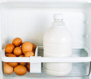 Fresh Food on Refrigerator Door Shelf Stock Photos