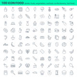 Fresh Food restaurant menu icon set. Fresh Food restaurant menu 100 icon set Royalty Free Stock Image