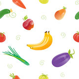 Fresh Food Seamless Pattern with Different Fruits and Vegetables. Royalty Free Stock Photography