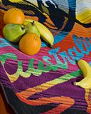 Fresh Food & Surfing In Australia. An Australian made Surf Towel with some Aussie Fresh Fruit on the Towel Stock Photo