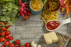 Fresh food on the table Stock Photography