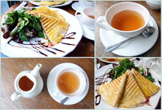 Fresh food and tea. Collage of fresh colorful food with tea stock photos