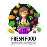 Fresh food vector logo design template. fruits and Royalty Free Stock Image