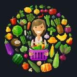 Fresh food vector logo design template. gardening Royalty Free Stock Photo