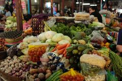 Fresh food market Cambodia. Fresh food vegetable fruit and other are sold at the Siem Reap market in Cambodia Stock Photography