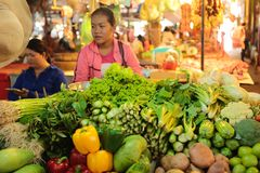 Fresh food market Cambodia. Fresh food vegetable fruit and other are sold at the Siem Reap market in Cambodia Stock Photos
