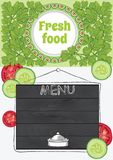 Fresh Food, Vegetarian Template Flyer Stock Photography