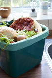 Fresh Food Waste In Recycling Bin At Home stock photos