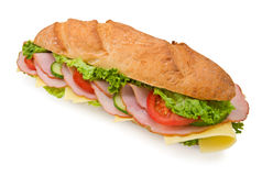 Fresh foot-long submarine sandwich with ham and ch