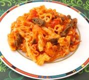 Fresh football pasta Stock Images