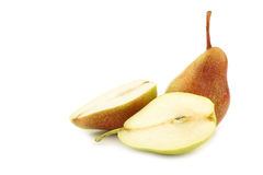 Fresh `Forelle` pear and a cut one Royalty Free Stock Photos