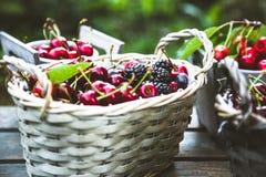 Fresh forest fruit on wood Stock Photo