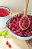 Fresh forest raspberries Royalty Free Stock Photography