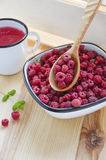 Fresh forest raspberries Stock Images