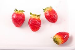 Fresh four Strawberries on dish. Fresh strawberries fruits on white dish Royalty Free Stock Photos