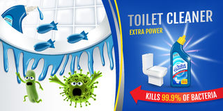 Fresh fragrance toilet cleaner ads. Cleaner bobs kill germs inside toilet bowl. Vector realistic illustration. Horizontal banner. Stock Images