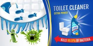 Fresh fragrance toilet cleaner ads. Cleaner bobs kill germs inside toilet bowl. Vector realistic illustration. Horizontal banner. Stock Images