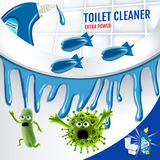 Fresh fragrance toilet cleaner ads. Cleaner bobs kill germs inside toilet bowl. Vector realistic illustration. Poster. Stock Photos