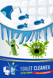 Fresh fragrance toilet cleaner ads. Cleaner bobs kill germs inside toilet bowl. Vector realistic illustration. Vertical poster. Stock Photography