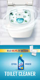 Fresh fragrance toilet cleaner gel ads. Vector realistic Illustration with top view of toilet bowl and disinfectant container. Ver Royalty Free Stock Photo
