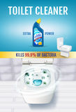 Fresh fragrance toilet cleaner gel ads. Vector realistic Illustration with top view of toilet bowl and disinfectant container. Ver Royalty Free Stock Image
