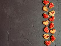 Fresh and fragrant biscuits with glaze for those who love. A place to write on Valentine`s Day Royalty Free Stock Photo
