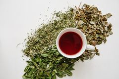 Fresh fragrant and healthy herbal tea in a glass or mug on a white wooden surface. Next to it lie various dried herbs royalty free stock photos