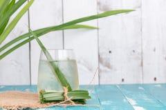 Fresh Fragrant Pandan  Ice Tea and leaves on wood background Stock Photos