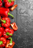 Fresh fragrant sweet pepper. On rustic background royalty free stock photos