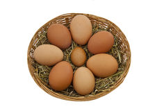 Free range hens eggs in a basket Stock Photos