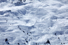 Fresh freeride tracks. Image of fresh ski and snwoboard tracks on snowy mountian Royalty Free Stock Image