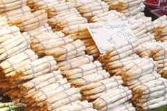 Fresh French Aspargus on a Market Stall Stock Image