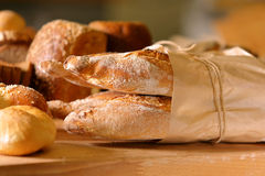 Fresh French baguette in bakery Stock Photos