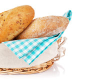 Fresh french bread in basket Stock Photos