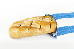 Fresh french bread on towel, food concept Stock Photography