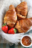 Fresh French croissant on the table Stock Images
