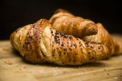 Fresh french croissant on the table royalty free stock photography