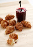 Fresh french croissants with berry jam Royalty Free Stock Image
