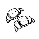 Fresh french croissants icons sketch Stock Photo