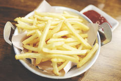 Fresh french fries. With ketchup stock image