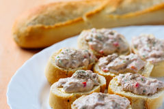Fresh French stick bread and tuna crunch Royalty Free Stock Photos