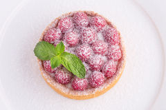 Fresh french tart with raspberries and mint Stock Image