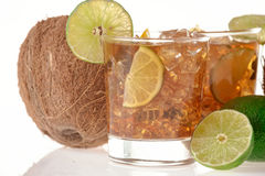 Fresh Fresh cocktail with cola drink and lime fruit Stock Image