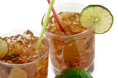 Fresh Fresh cocktail with cola drink and lime fruit Royalty Free Stock Images