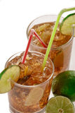 Fresh Fresh cocktail with cola drink and lime fruit Royalty Free Stock Photography