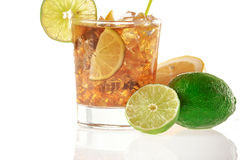 Fresh Fresh cocktail with cola drink and lime fruit Royalty Free Stock Photo