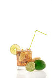Fresh Fresh cocktail with cola drink and lime fruit Stock Photo