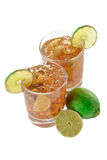Fresh Fresh cocktail with cola drink and lime fruit Royalty Free Stock Photos