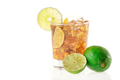 Fresh Fresh cocktail with cola drink and lime fruit Stock Photography